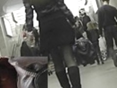 Great upskirting of doll in underground