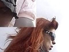 Sexy arse up redhead's petticoat