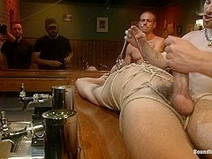 Bound in Public. Ripped go go boy beaten fucked and covered in cum
