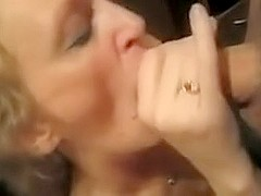 Lascivious granny sucks big ding-penis