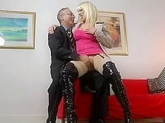 Old man and a lewd blonde milf