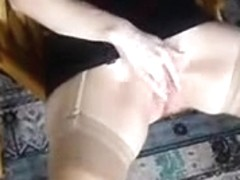 Masturbation and jizz flow on firm titty cutie.