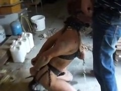 Submissive skinny milf wife enjoys rough bondage and sex