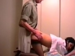 Student lets the professor fuck her doggystyle for a good grade