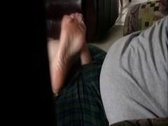 Hidden cam Footjob