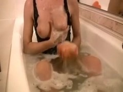 Provoking girlfriend takes shower and rubs her cum-aperture with soap