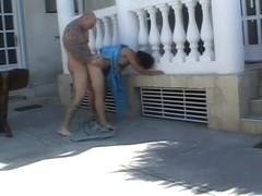 Unshaven mature maid banged