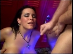 Floozy sucks dick and acquires bawdy cleft fingered and screwed in red room