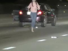 Stupid brunette risks her life for nothing