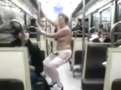 Shameless woman demonstrates curves in the bus