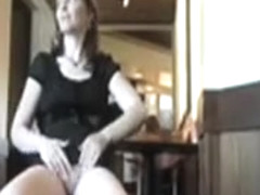 Amateur upskirt show in the coffee shop