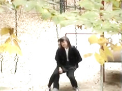 Sex on the swingset with a Korean coed girl