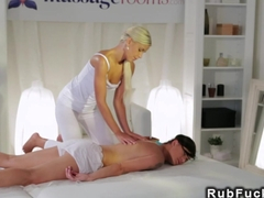 Blonde masseuse oils and fingers twat