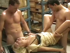 Milf rides the cock in her ass while his buddy sticks it in her pussy