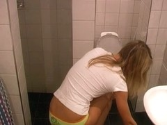 Blonde near toilet