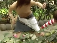 Garden sharking action with some lovable little Asian sweetie