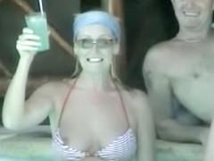 Bikini nipple slip on exciting downblouse video