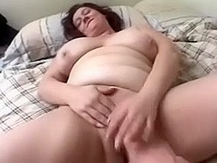Chubby aged darksome brown masturbates and sucks thin cock