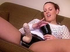 Amazing strapon clip with handjob, solo girl, fetish scenes 1
