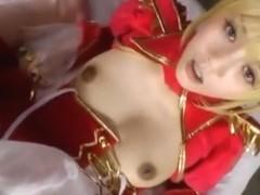 Blonde Asian hottie in sexy cosplay costume