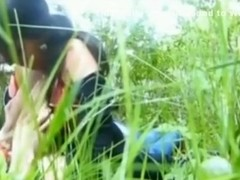 Busty latina girl sucks off her bf in nature after school