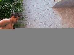 Hispanic floozy getting gangbanged by the pool