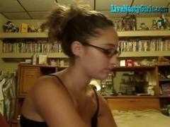 Sexy  immature brunette hair rides boyfriend on livecam