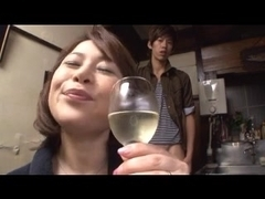 Japanese cougar sucks dick and gets a facial