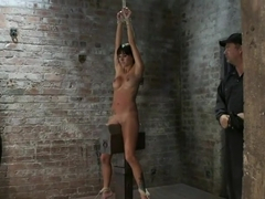 Extreme pussy torture on the wooden horse.Hard flogging, a brutal zipper and now it's fun.