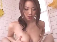 Horny Japanese chick Risa Kasumi in Amazing Big Tits, Handjobs JAV clip