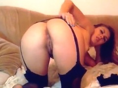 Sexy babe Missella plays with ass