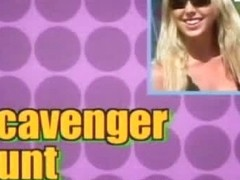 This blonde babe in sunglasses is just crazy to behave like this