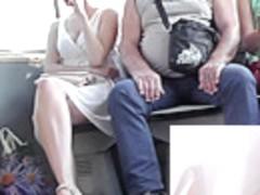 Amateur upskirt XXX video with pretty young girlfriend