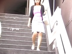 Stairs sharking encounter with lovable Asian princess losing her top