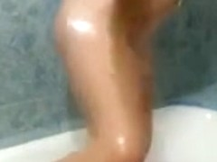 Smearing my slim body with cake in the shower solo video