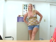 Stunning and sexy Ashley Edmonds plays with dildo in office