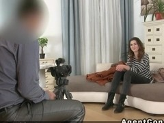 Fake agent fucks Euro brunette amateur couch euro