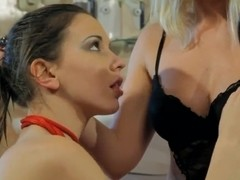 Young and sexy slender girl Candy Sweet is sitting on chair and getting her cunt licked up by Kath.