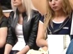 Peachy blond upskirt in subway