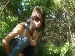 Girl in sunglasses got spied on voyeur cam pissing outdoor
