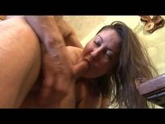 Coarse anal in kitchen