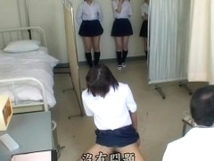 Lovely Japanese teens show their goods during medical exam