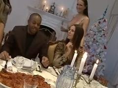 Hardcore Christmas dinner orgy