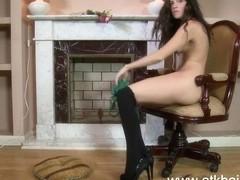 Tatiana drives herself wildly to orgasm masturbating