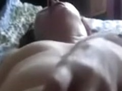 Lusty bulky mature wife pets her curly moist crack with marital-device