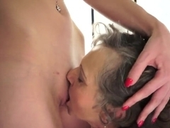 A young hottie has les sex witih a granny