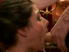 Big Tits Blonde Slave Suspended for Anal Fuck vs. Petite Cock Sucker