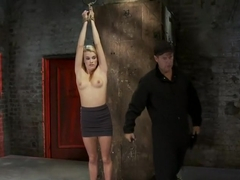 Southern Belle in her first hardcore bondage experienceAbused, made to cum, and wrist suspended.