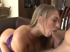 Luxurous pornstar Kagney Linn Karter gets creampie and sucking dry