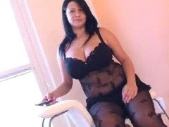 Fat girl in arousing black lingerie